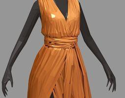3D asset polygon art long orange dress white high heel 1