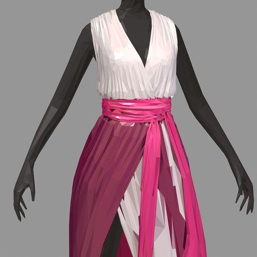 lowpolyart summer long pink dress white high heel shoes 3d model max obj mtl fbx ma mb 1