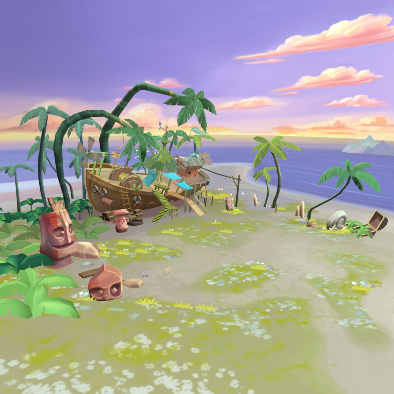 Cartoony Shipwreck Scene