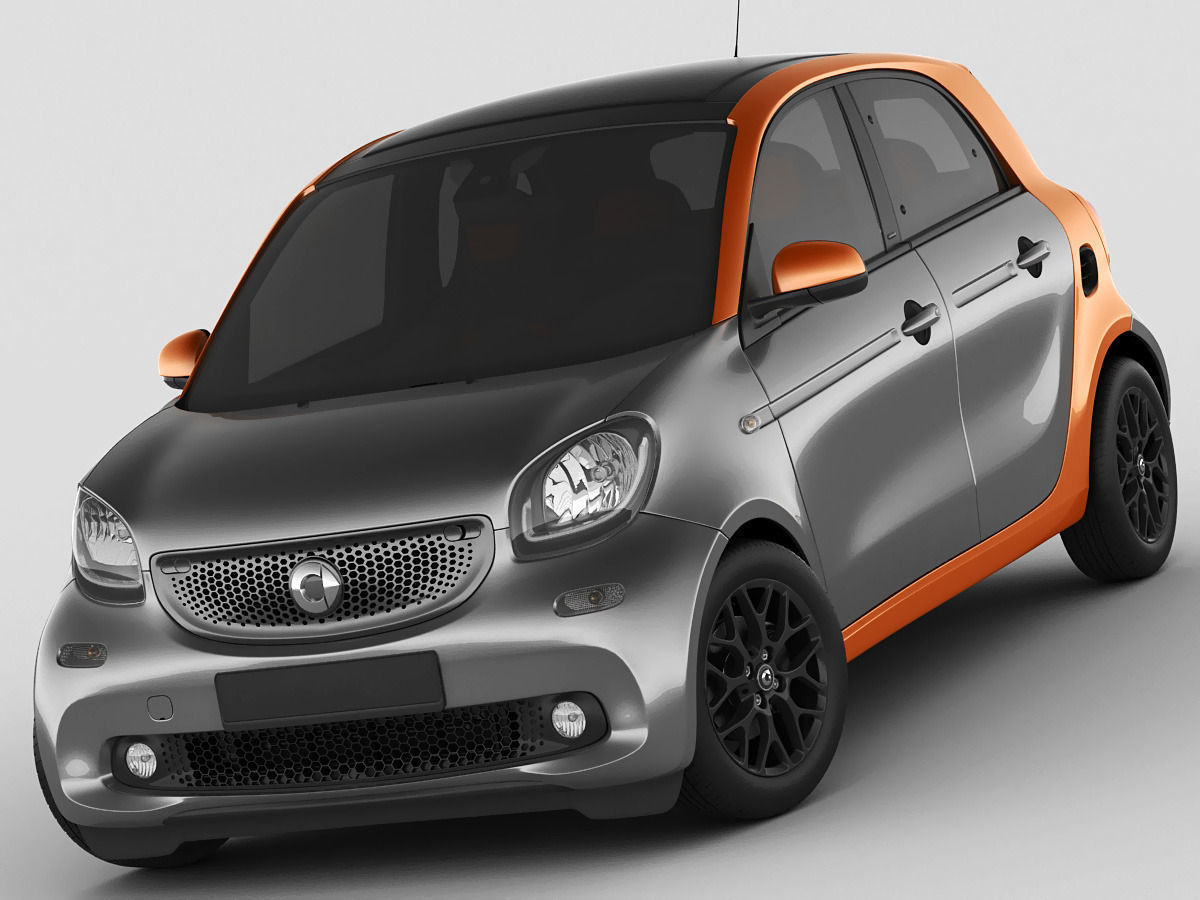 smart forfour 2015 3d model max obj 3ds fbx c4d lwo