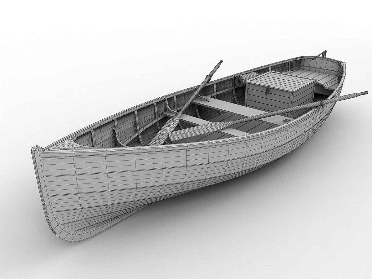 Wood Fishing Boat 3d Model Max Obj 3ds Fbx