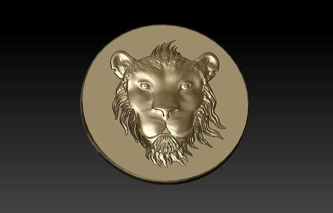 tsavo lion head coin 3d model obj stl 3dm 1