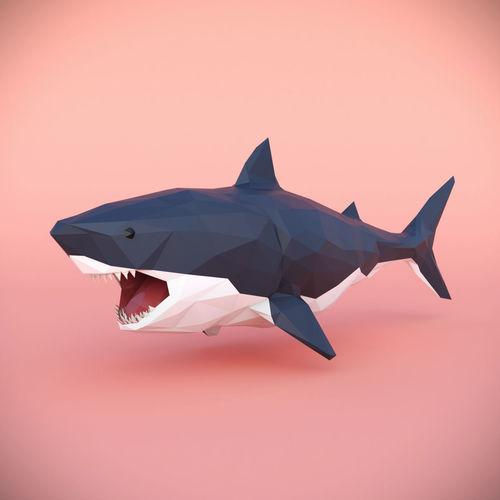 low poly shark 3d model low-poly max obj mtl 3ds fbx 1