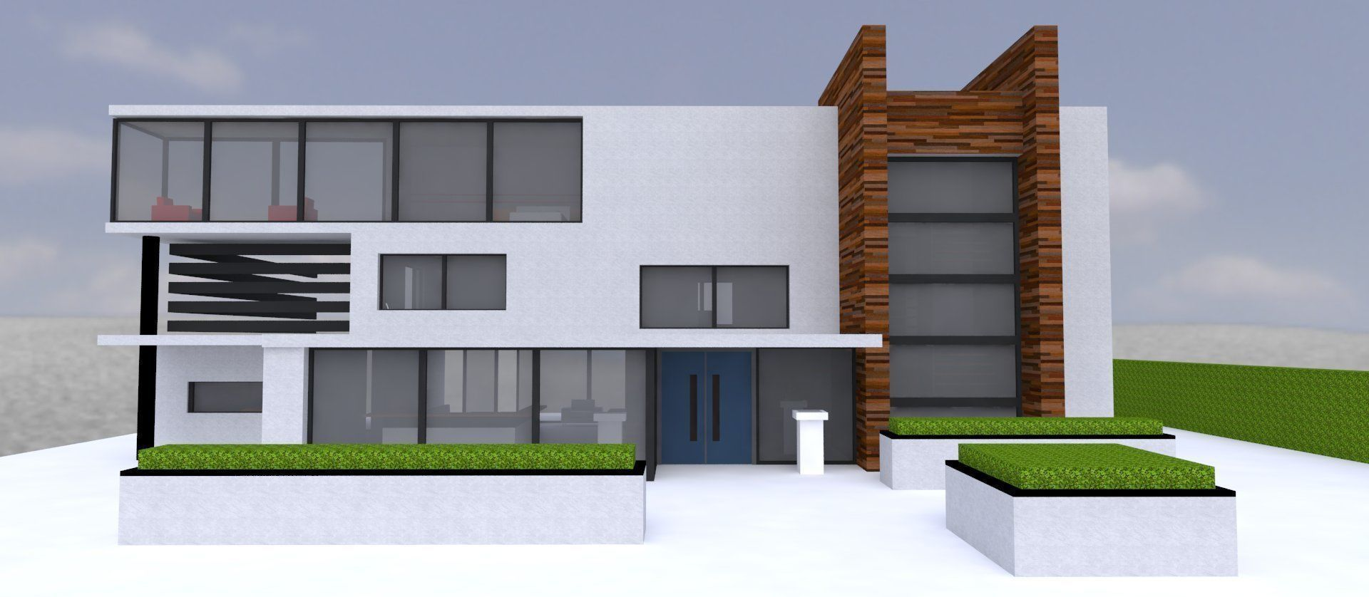 minimal modern architectural home with interior realtime 1