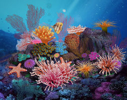 Science fiction - seabed - coral group 02 3D