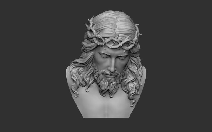 jesus bust relief 3d model obj stl 1