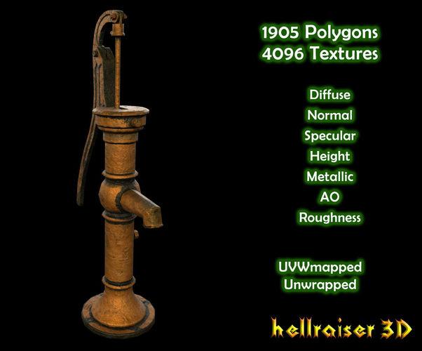 water pump - pbr - textured 3d model low-poly obj mtl fbx 1