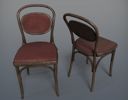 Wooden Chair Tonoval 3D asset low-poly