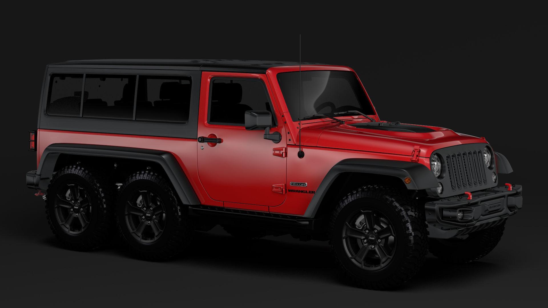 3d Model Jeep Wrangler 6x6 Rubicon Recon Jk 2017
