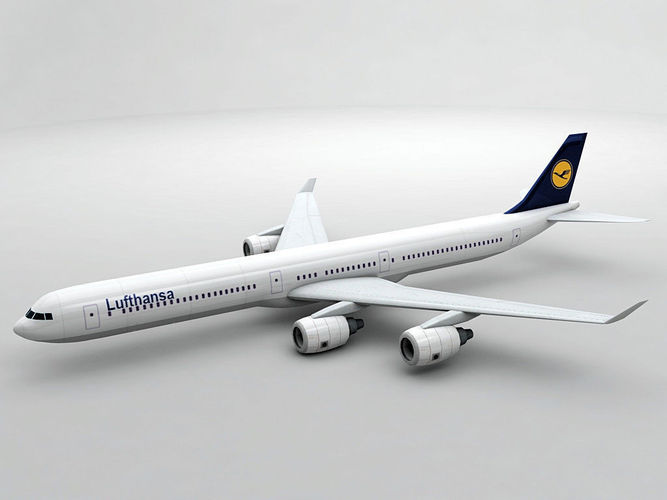 airbus a340-600 - lufthansa 3d model low-poly max obj 3ds dxf stl wrl wrz 1