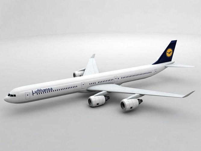 airbus a340-600 - lufthansa 3d model low-poly max obj mtl 3ds dxf stl wrl wrz 1