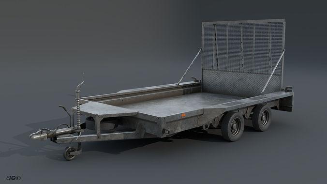 trailer 3d model low-poly obj 3ds fbx blend mtl 1