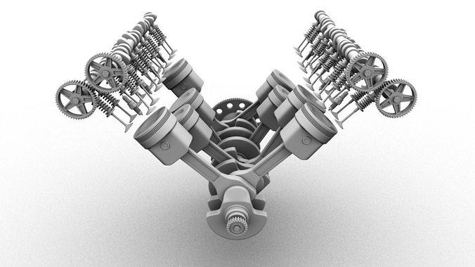 v8 engine 3d model rigged animated ma mb 1