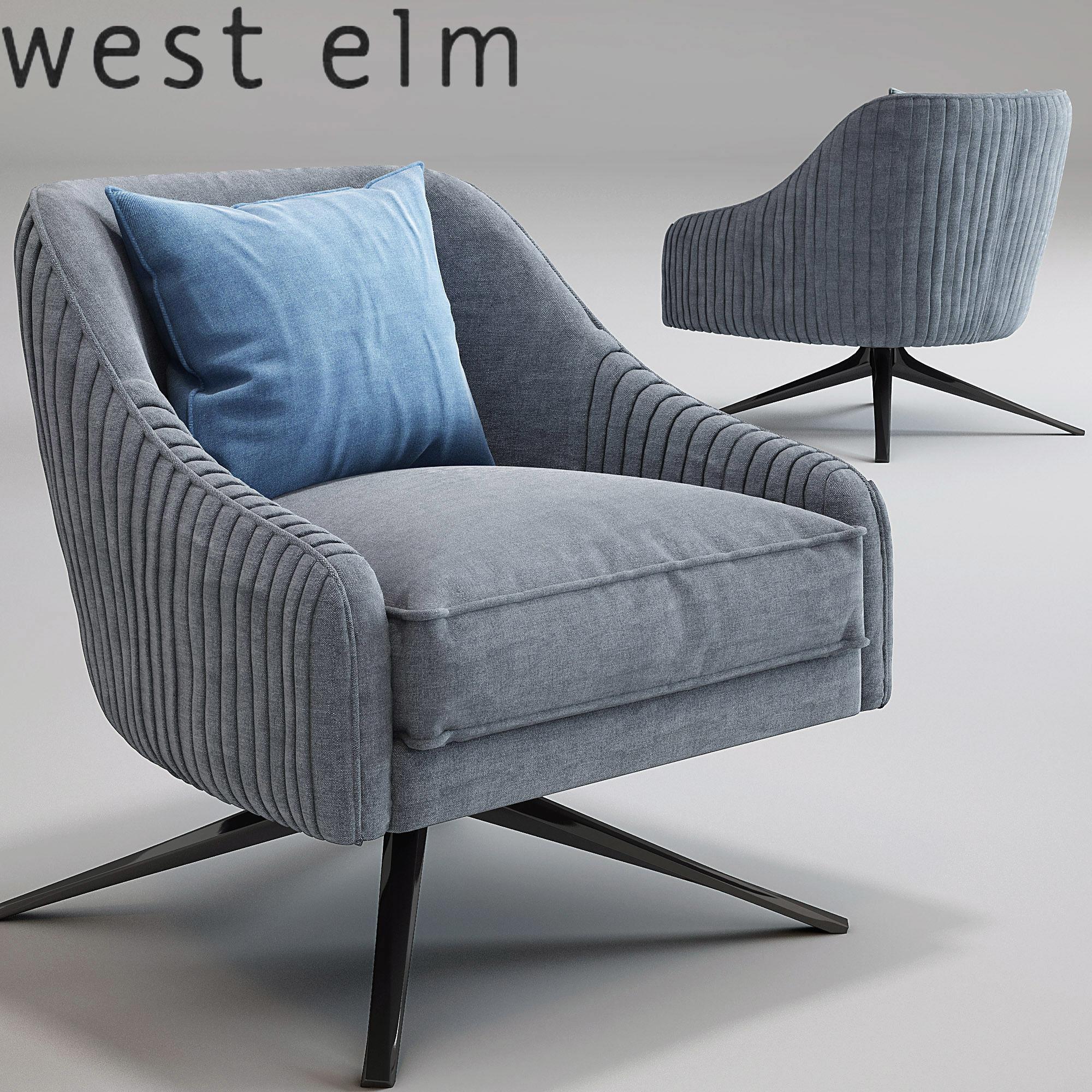 3d roar rabbit swivel chair west elm cgtrader
