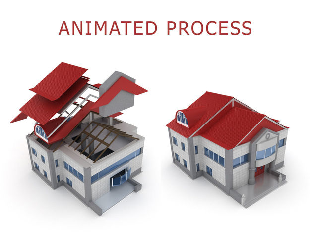 animated process of house building  3d model animated max obj mtl fbx 1