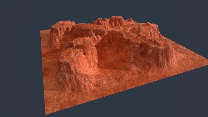 low poly canyon environment asset 3d model low-poly obj mtl fbx 1