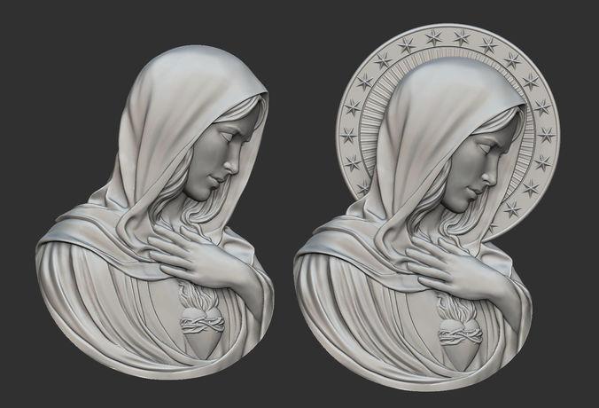 virgin mary with sacred heart pendant 3d model obj stl 1