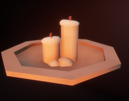 Low Poly Pixelated Plate and Candles 32x32 3D asset