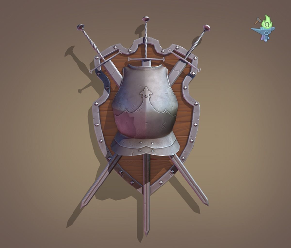 ornamental shield 3d model low-poly obj 3ds fbx stl blend 1