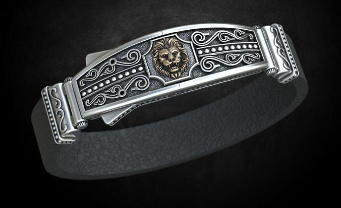 bracelet lock with lion under the skin stylish 244 3d model stl 3dm 1