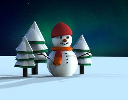3D asset VR / AR ready Snowman