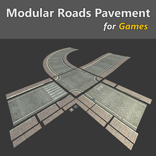 modular streets pavement 3d model low-poly max obj fbx 1