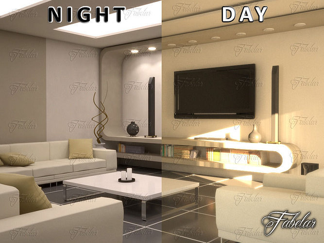 3d living room 10 day night cgtrader for Living room night
