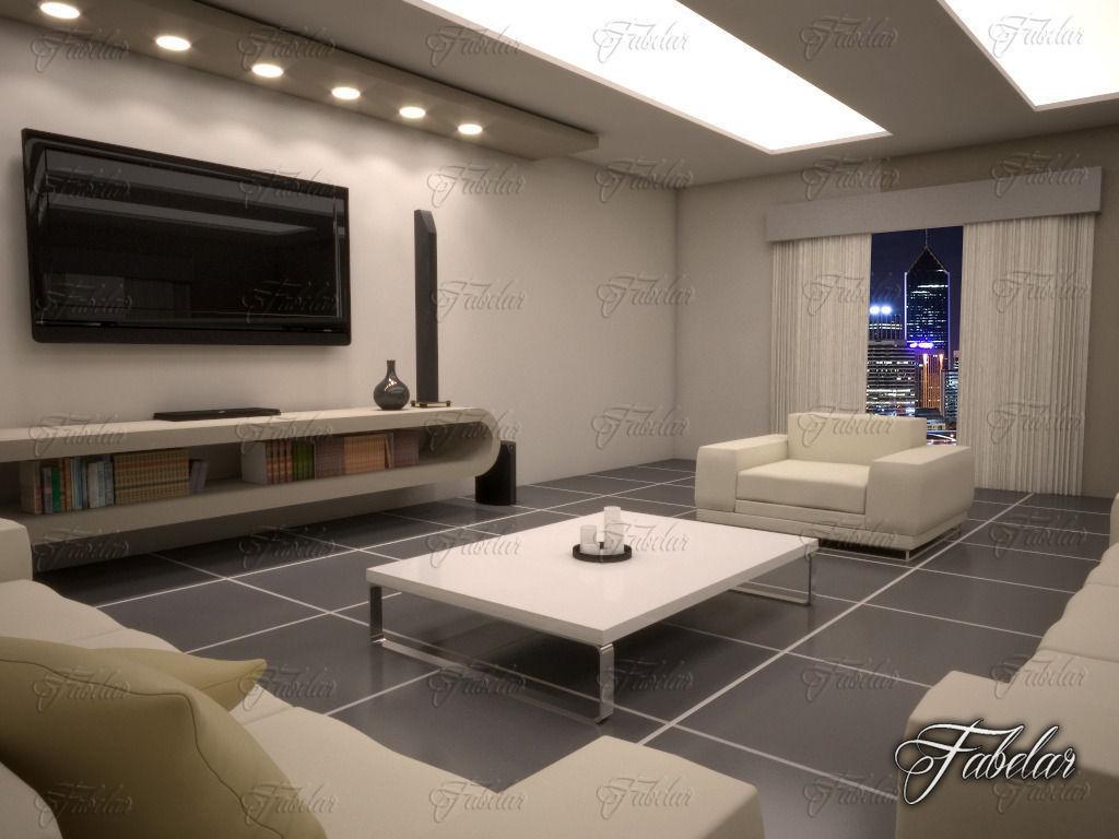 ... Living Room 10 Day Night 3d Model Max 8 ...