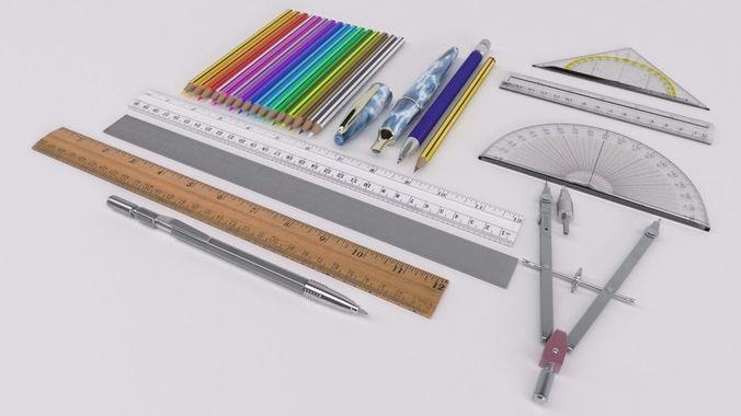 drawing instruments 3d model max obj mtl fbx 1