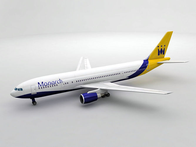 airbus a300-600 airliner - monarch 3d model low-poly max obj 3ds dxf stl wrl wrz 1