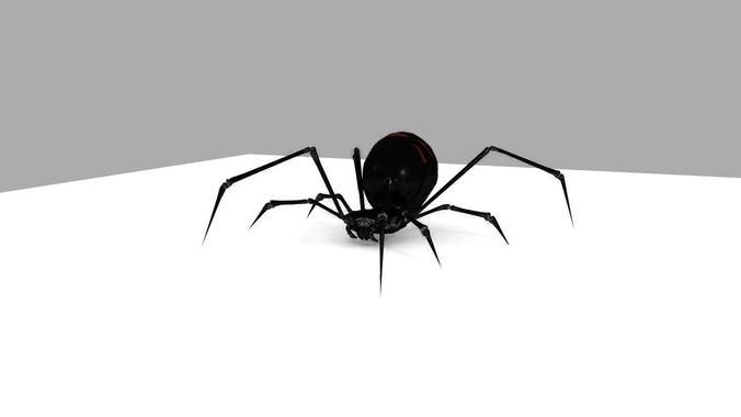 black widow rigged and walk animation 3d model low-poly rigged animated blend 1
