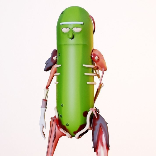 pickle rick 3d model low-poly rigged animated fbx blend 1