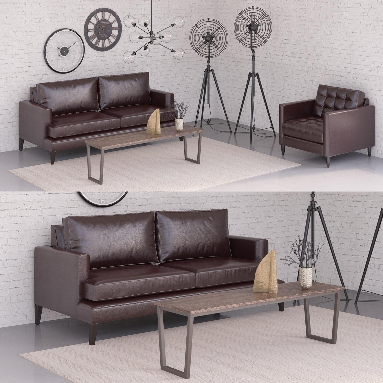 Black sofa set 3D | CGTrader
