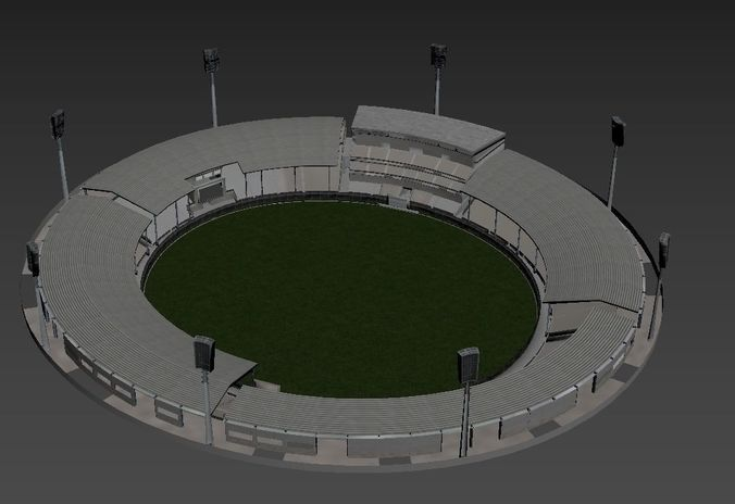 cricket stadium 3d model low-poly max obj mtl fbx 1