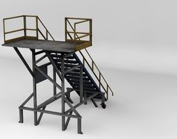 3D model machinery stairs moveable large