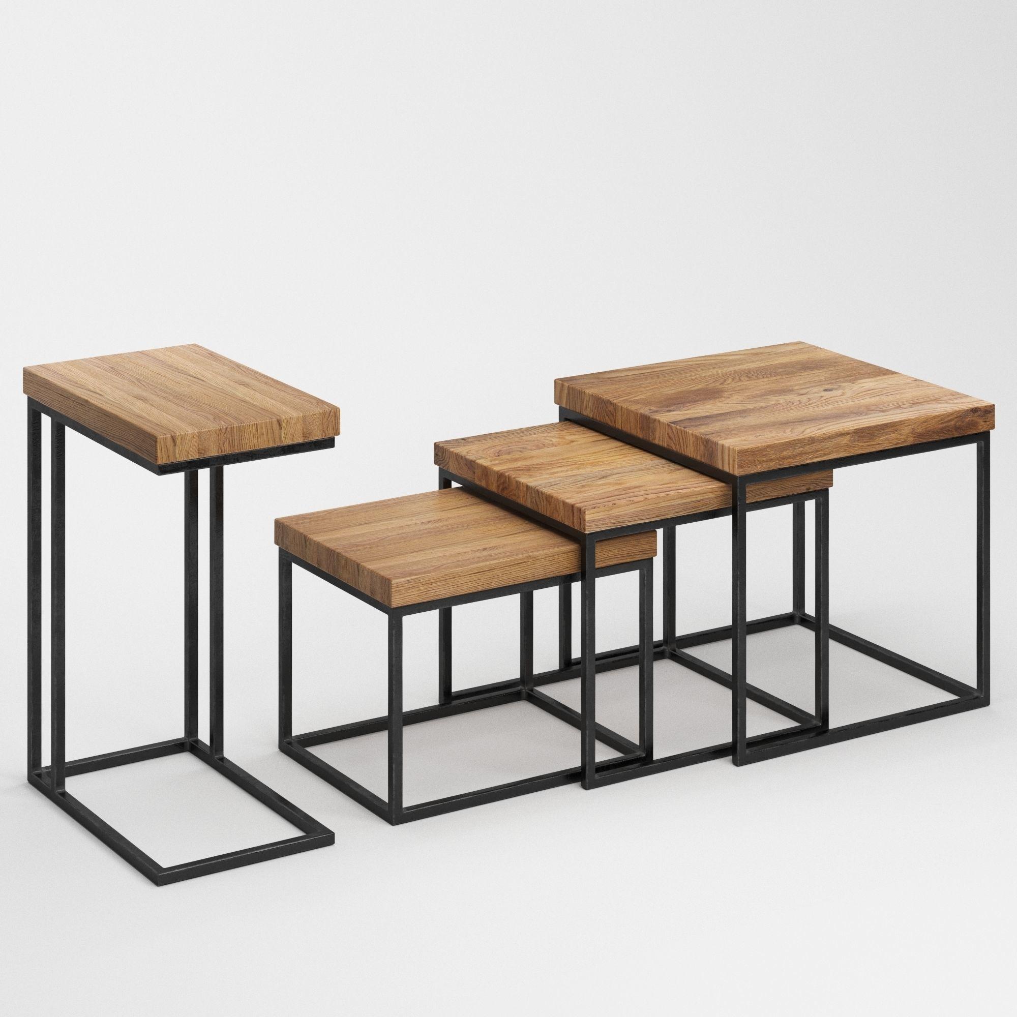 Beau ... Taiga Oak Nesting Table 3d Model Max Obj Fbx Mtl Mat 3 ...