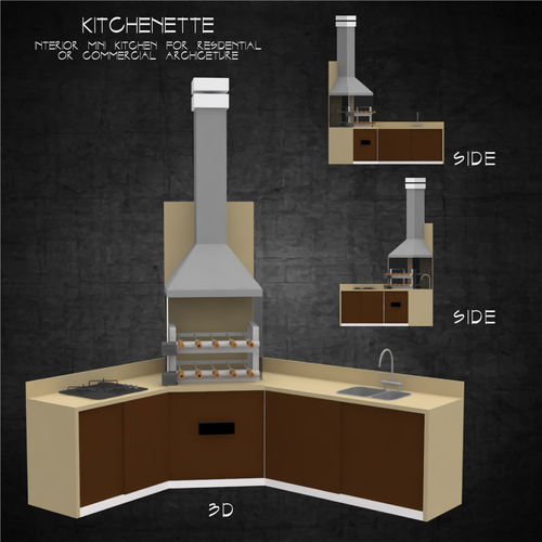 kitchenette for interior of residential or commercial architect 3d model low-poly obj mtl 3ds fbx stl dae 3dm 1