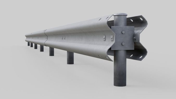 road safety barrier 2a 3d model low-poly obj mtl fbx blend 1