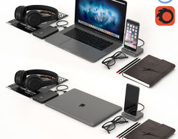 Workplace Space Gray MacBook 3D