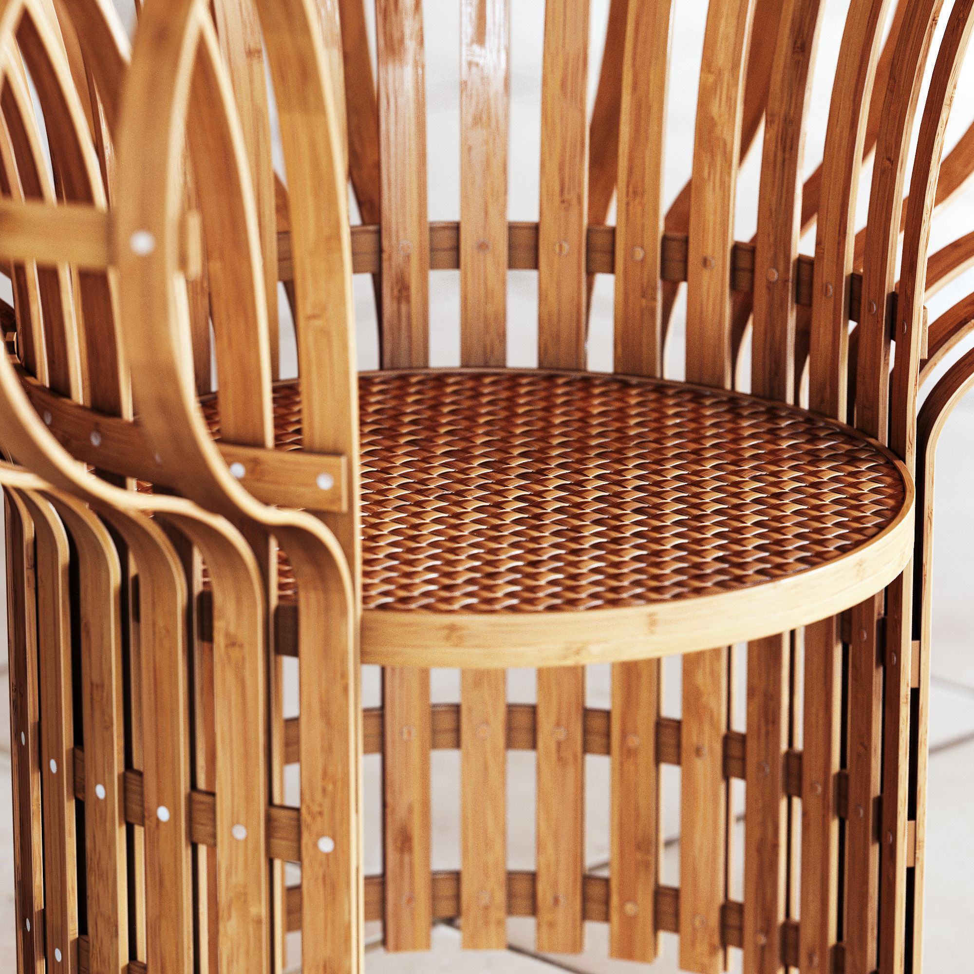 ... Armchair Made Of Bent And Woven Bamboo 3d Model Max Obj Fbx Mtl 3 ...