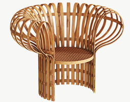 3D Armchair made of bent and woven bamboo