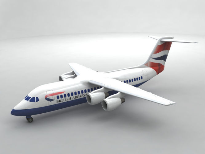 avro rj-100 - british airways 3d model max obj 3ds dxf stl wrl wrz 1