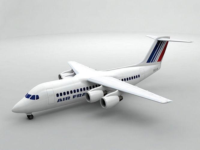 avro rj-100 - air france 3d model max obj mtl 3ds dxf stl wrl wrz 1