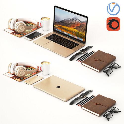 workplace gold macbook  3d model max obj mtl 1