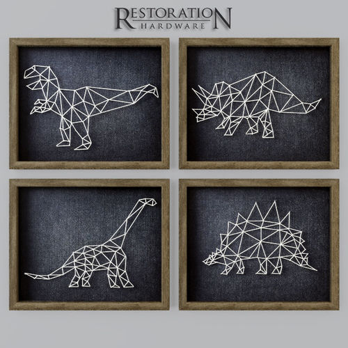 3d model dinosaur string art rh cgtrader. Black Bedroom Furniture Sets. Home Design Ideas
