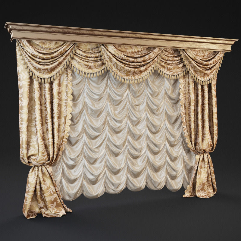 Nice ... Classic Curtains 3d Model Max 2 ...