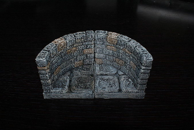 3d Print Model Openforge Stone Dungeon Curved Wall