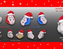 Cartoon Sheep XMas 3D model