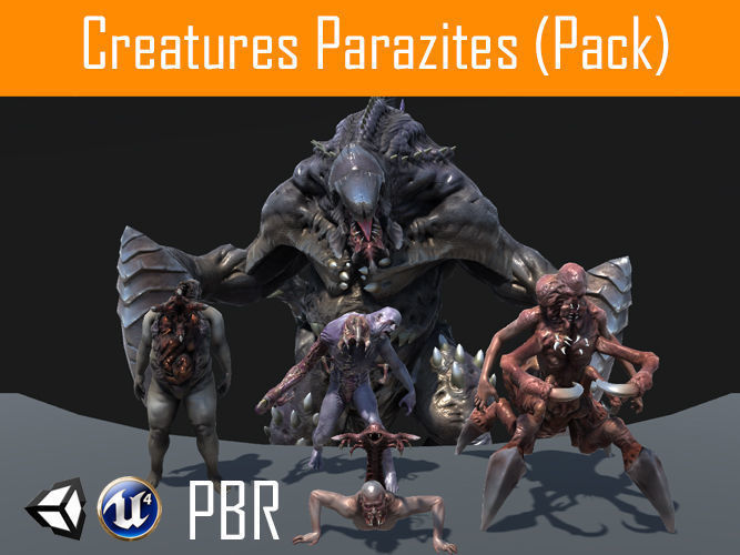characters parazites  pack 3d model low-poly rigged animated obj fbx tga unitypackage 1