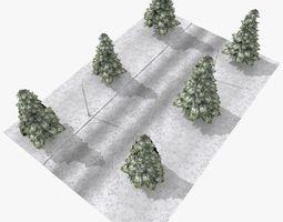 3D model Winter street for game - tileable